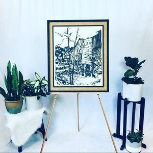Iron burned cotton print, 25x30 framed